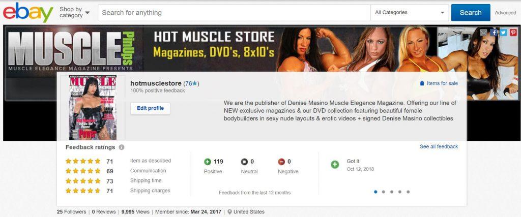 Denise Masino Muscle Elegance Magazine Ebay store moves to Amazon
